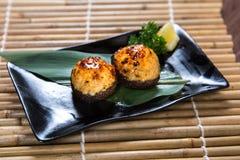 Japanese Chicken Meatball Shitake Kushiyaki, Skewered and Grilled Meat Stock Photo