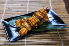 Japanese Chicken Thigh and Leek Kushiyaki, Skewered and Grilled Meat stock photography