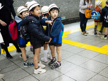 Japanese child. In the subway station, tokyo japan Stock Image