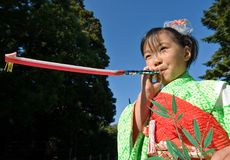 Japanese Child in Kimono at shichi-go-san. Miyazaki, Japan, November 23, 2007, Shichi-Go-San (七五三, seven-five-three) is a traditional rite of passage and stock image