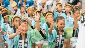 Japanese children dancing traditional Awaodori dance in the famous Koenji Awa Odori festival, Tokyo, Japan stock photos