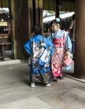 Japanese children at Meiji Shrine, Tokyo. Japanese children in traditional kimono dress at the Meiji Shrine in Tokyo stock image
