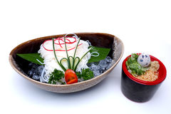Japanese chilled noodles or Hiyashi Somen served with dipping sa Royalty Free Stock Photos
