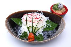 Japanese chilled noodles or Hiyashi Somen served with dipping sa Royalty Free Stock Photography