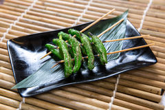 Japanese Chillies Mushroom Kushiyaki, Skewered and Grilled Meat Royalty Free Stock Photos