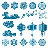 Japanese and chinese asian motif vector decor pattern elements Royalty Free Stock Photography