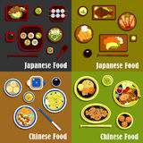 Japanese and chinese cuisine menu. Japanese seafood menu and spicy chinese dishes with sushi and sashimi, fish and rice, shrimps and noodles, peking duck, orange Stock Images