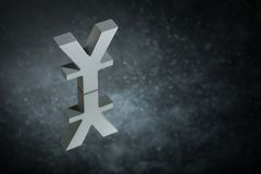Japanese of Chinese Currency Symbol or Sign With Mirror Reflection on Dark Dusty Background royalty free stock photo