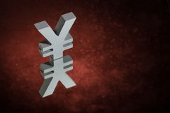Japanese of Chinese Currency Symbol or Sign With Mirror Reflection on Red Dusty Background stock images