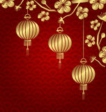 Japanese or Chinese Golden Background with Lanterns and Sakura Royalty Free Stock Photos