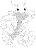 Japanese or Chinese Koi Fish Line Art Royalty Free Stock Photography