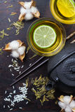 Japanese chinese tea with lemon teapot chopsticks rice Royalty Free Stock Photography