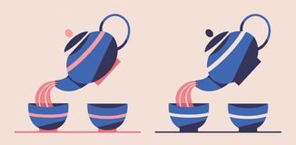 Japanese or Chinese tea set. Flat vector illustration. Teapot pouring green tea in cups. Retro style. Tea ceremony royalty free illustration