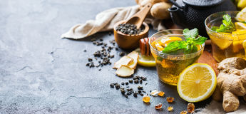 Japanese chinese tea teapot lemon ginger mint Royalty Free Stock Photos