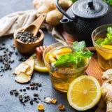Japanese chinese tea teapot lemon ginger mint Royalty Free Stock Images