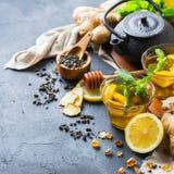 Japanese chinese tea teapot lemon ginger mint Stock Photos