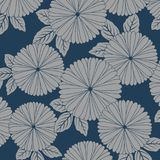 Japanese chrysanthemum flower pattern. On blue background Stock Image