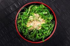 Japanese Chuka Salad with seaweed and sauce Royalty Free Stock Images