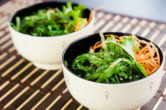 Japanese Chuka Wakame seaweed salad. Two bowls of Japanese Chuka Wakame seaweed salad on bamboo mat royalty free stock photo