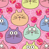 Japanese circle cat head seamless pattern. This illustration is design and drawing Japanese style circle with cat head in pink color background Stock Photography