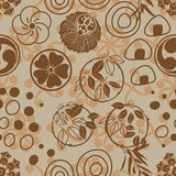 Japanese circle circle Mon Onigiri style seamless pattern. This illustration is Japanese Family Crest Mon with abstract circle with Onigiri with brown color Royalty Free Stock Photo