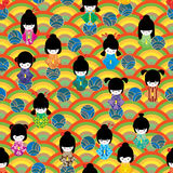 Japanese circle doll half circle seamless pattern Royalty Free Stock Photography