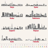 Japanese city skylines in grey scales color palette Royalty Free Stock Photo