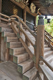 Japanese classic architecture of wooden stairway to a shrine Stock Photography