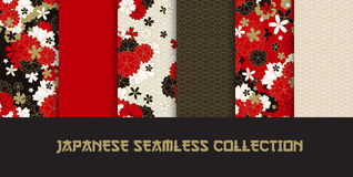 Japanese classic seamless pattern set. Set of Japanese classic sakura and ornaments seamless patterns for traditional fabric, asian festive design in red, black Royalty Free Stock Photos