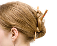 Japanese coiffure side view Royalty Free Stock Photography
