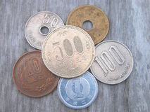 Japanese coins. All japanese coins in use now Royalty Free Stock Images