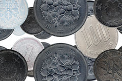 Japanese coins. Old and new Japanese coins montage Stock Photos
