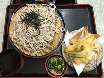 Japanese Cold Soba noodles with shrimp tempura called Zaru Soba Stock Photo