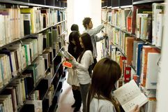 Japanese college student in library Royalty Free Stock Photography