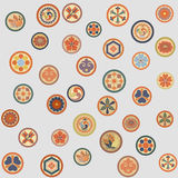 Japanese colorful crests pattern Stock Photo