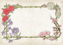 Japanese colorful floral frame, on parchment Royalty Free Stock Image