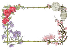 Japanese colorful floral frame, on white background. Japanese colorful floral frame, composed of cherry blossoms, peonies and irises, on a white background Royalty Free Stock Image