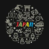 Japanese colorful gradient with line icons set stock illustration