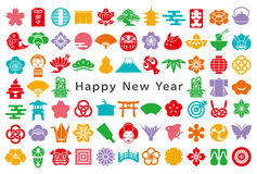 Japanese colorful icons. new year card. Stock Image