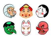 Japanese comical masks. Japanese comical festival masks isolated stock illustration