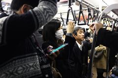 Japanese commuters stock photos