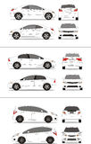 Japanese compact car. Japan compact and sedan cars vehicles Royalty Free Stock Images