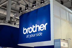 Japanese company Brother Industries logo sign on exhibition fair Cebit 2017 in Hannover Messe, Germany. Hannover, Germany - March, 2017: Japanese company Brother Royalty Free Stock Photos