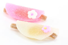 Japanese confectionery. This is a picture of pink and white sweets Stock Images