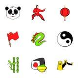 Japanese cons set, cartoon style. Japanese icons set. Cartoon illustration of 9 japanese vector icons for web Stock Photos