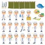 Japanese Cook man White. Set of various poses of japanese Cook man White Stock Images