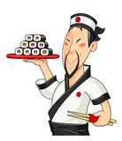 Japanese cook with sushi. Traditional food. Profession Stock Image