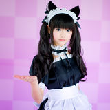 Japanese cosplay cute lolita maid Stock Image