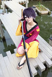 Japanese cosplayer, a female samurai Stock Image