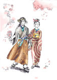 Japanese couple samurai and geisha walking Royalty Free Stock Images